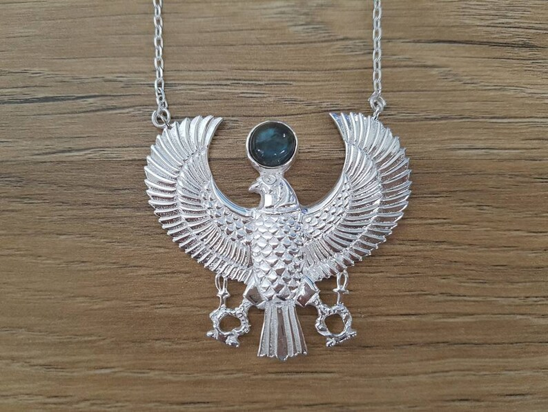 Horus with Labradorite Necklace  Medium  Silver  Feather image 0