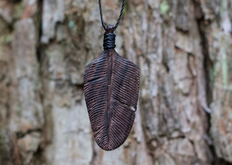 Hand Carved Wood Pendant Feather Tribe Mahogany Eagle Down Feather Necklace