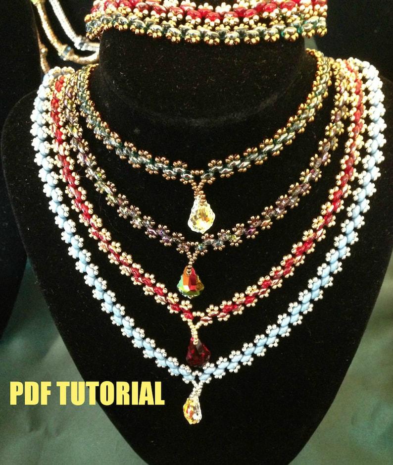 Super Lace necklace and bracelet PDF tutorial for beginner level beaders.