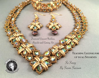 Teacher's License for Up to 10 Students Diamond Crescent Necklace, Bracelet and Earrings Tutorial