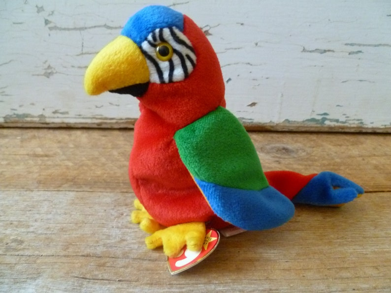 Vintage Plush Beanie Baby Parrot Jabber With Tags  4f38365e34a4