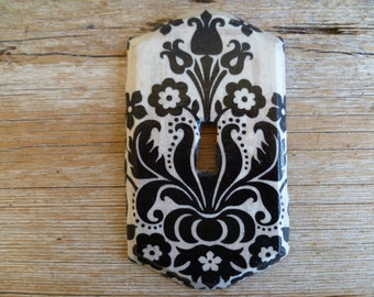 Hand Made Black and White Floral Light Switch Cover