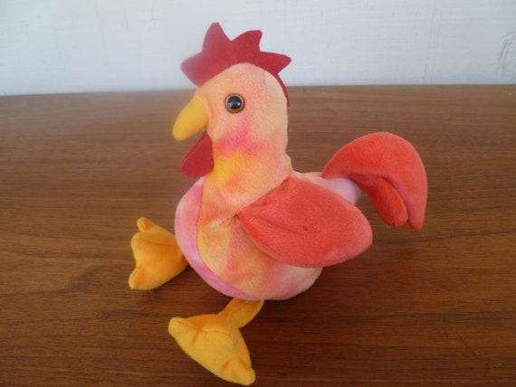 Vintage Plush Beanie Baby Rooster Strut With Tags  c81ab2037aa