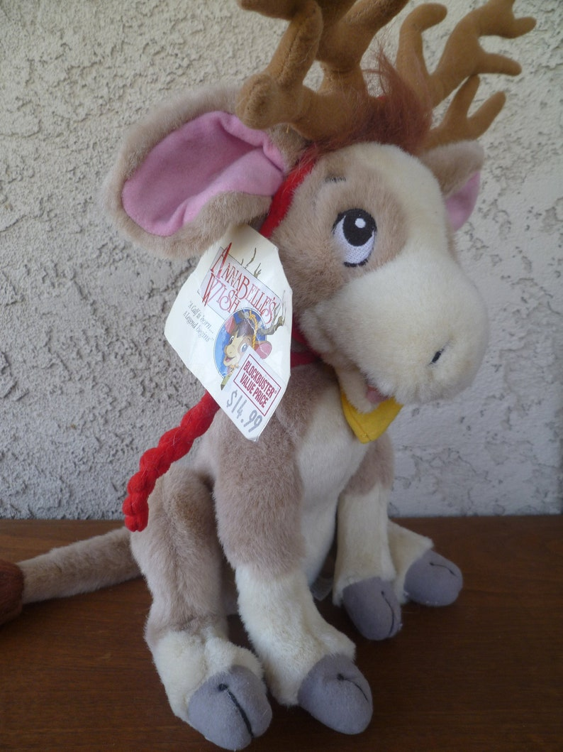 Calf Reindeer Vintage Annabelles Wish Plush Cow Blockbuster 1997  With Tags