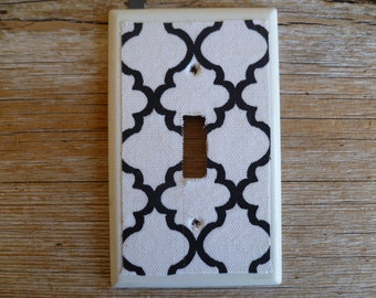 Hand Made Black and White Light Switch Cover Geometric