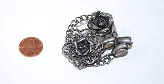 Hobe Pin, Sterling Silver Hobe Brooch, Pin Flowers