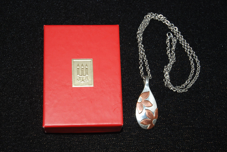 95277220bb0 James Avery Rare Retired Sterling Silver Copper Flower Pendant | Etsy