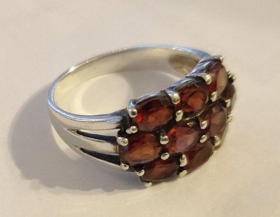 Sterling Garnet Cluster Ring Sterling Silver Ring