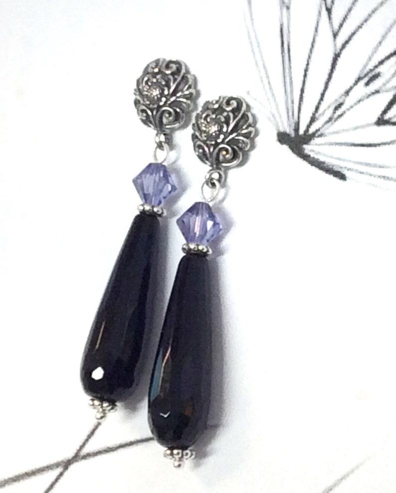1eb7c91d382a Black Onyx Earrings Art Nouveau Earrings Swarovski and Onyx