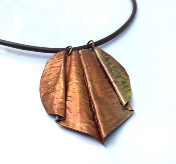 Fold Formed Copper Pendant Necklace Dimensional Free Form Etsy