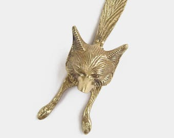 Solid Brass Fox Door Knocker   Animal Wolf Bronze Gold Coloured Small  Country Cottage Architectural Salvage Antique Vintage Small