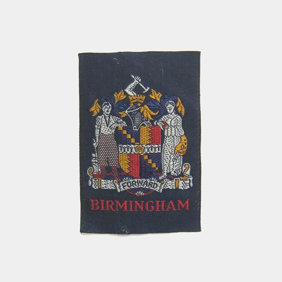 England English city east west midlands crest coat of arms Coventry souvenir travel red blue 1980s Vintage 1970s Birmingham Fabric Patch
