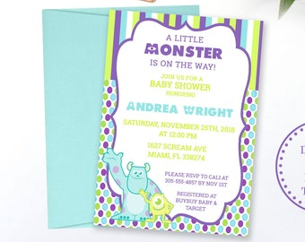 Monsters inc baby shower invitations etsy monsters inc baby shower invitation matching inserts instant download editable template printed invite filmwisefo