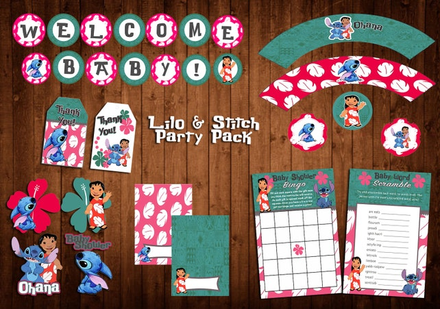 Lilo And Stitch Baby Shower Party Pack Banner Centerpieces Etsy