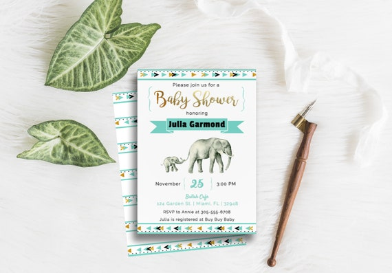 mom baby elephant shower invitation tribal boho etsy