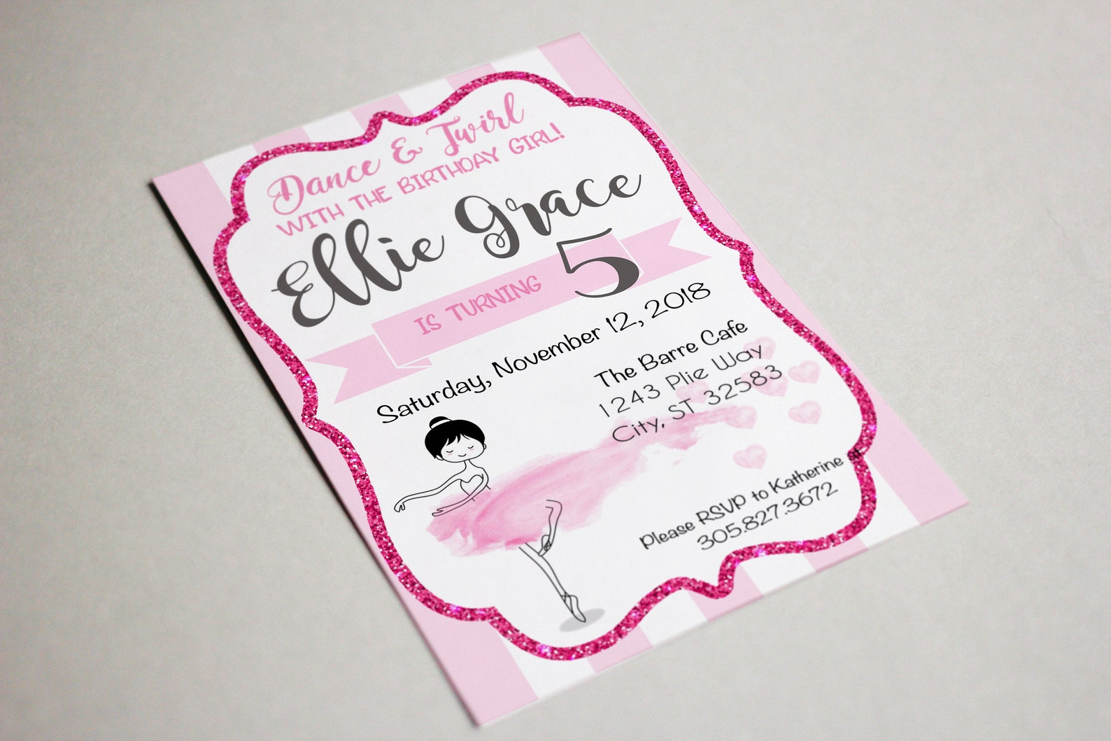 ballerina watercolor | birthday party invitation | ballet dancer | editable template adobe reader | instant download | ballerina