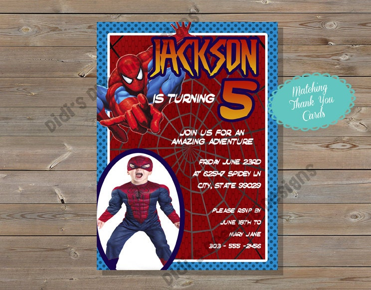 Spiderman Birthday Invitation And Thank You Card Printable Etsy