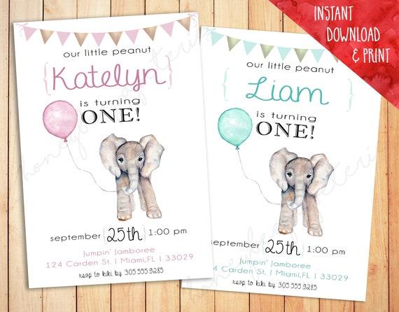 Watercolor Baby Elephant Birthday Invitation Balloon Gold