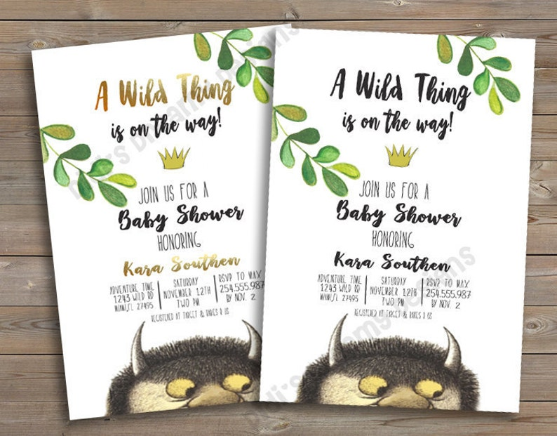 Where The Wild Things Are Baby Shower Birthday Invitation Etsy
