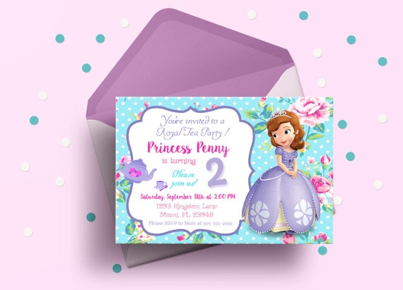 Sofia The First Birthday Invitation And Thank You Card Etsy