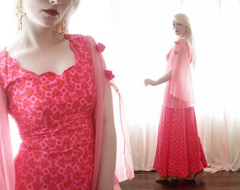 25f68d3f4e2 Vintage 1960s 1970s Glenda the good witch bubblegum pink psychedelic Barbie  fluttery angel sleeve long maxi dress hippie