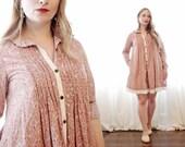 Vintage Kenzo cotton dusty rose pink calico cream lace cottagecore button up long sleeve shirtdress mini tent dress