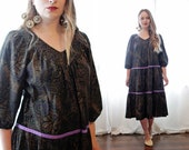 Vintage Gothic black printed cotton poet sleeve tiered trapez peasant dress bohemian Indian style