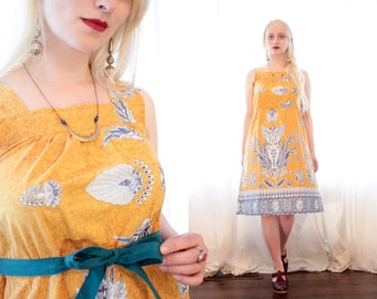 aa282647467 Vintage 1970s cotton Turmeric mustard yellow indigo blue Indonesian  inspired print sleeveless sundress ethnic Boho 70s