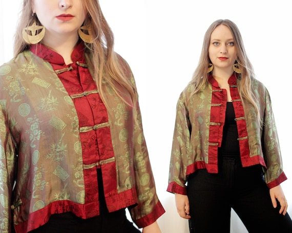 Vintage 100% silk cropped Asian frog clasp jacket