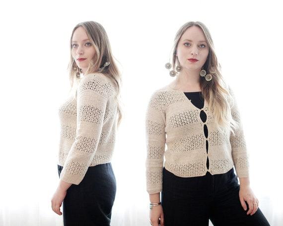 Vintage 1990s pale beige crochet striped button c… - image 4