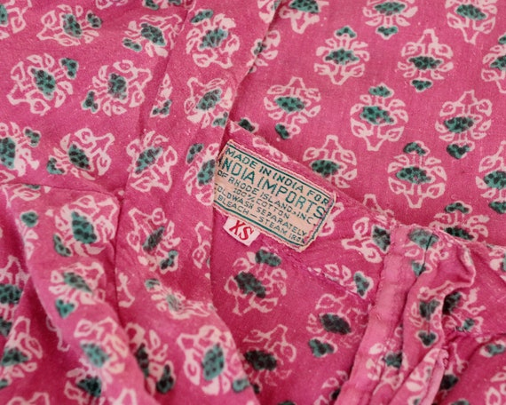Vintage 1960s Indian cotton gauze hand block prin… - image 5