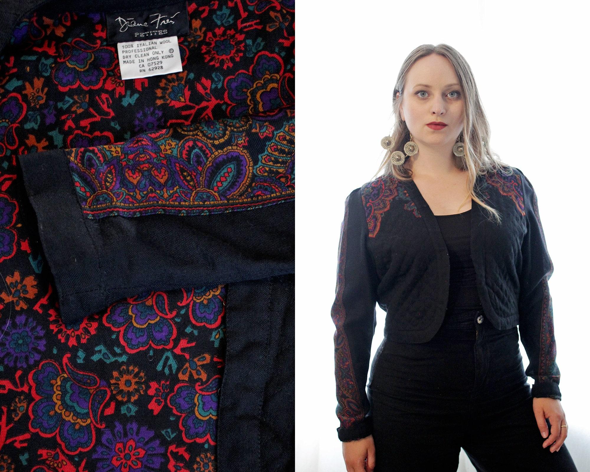 Vintage Scarf Styles -1920s to 1960s Vintage Diane Freis Petites 100 Italian Wool Cropped Gothic Scarf Print Black Quilted Bolero Shrug Jacket $72.25 AT vintagedancer.com