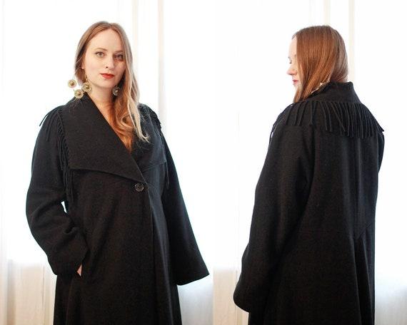Vintage Italian black Cashmere wool blend  blanke… - image 3