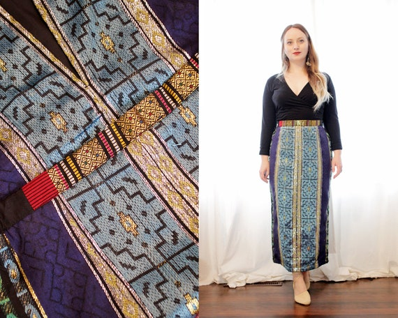 Vintage Asian embroidered jacquard pencil maxi ski