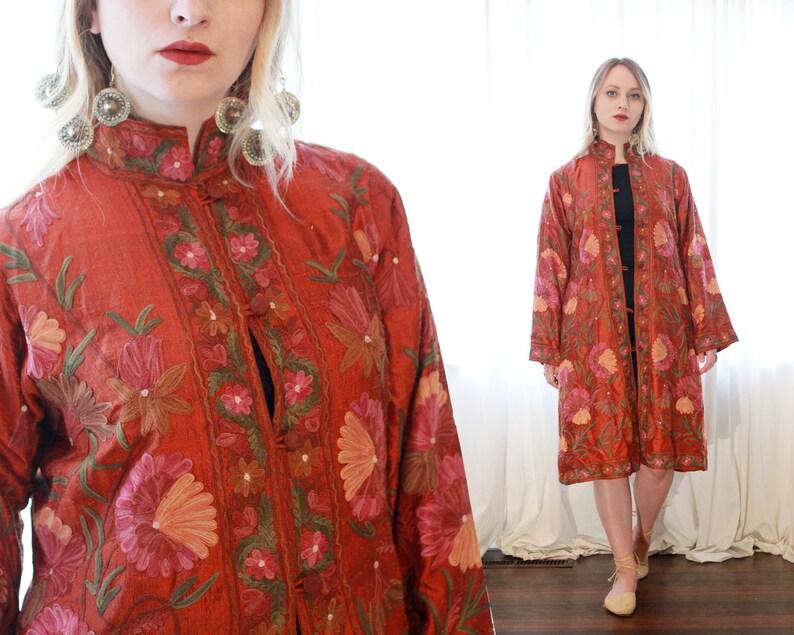 09a477856db86 Vintage silk rust orange red floral vine embroidered Indian