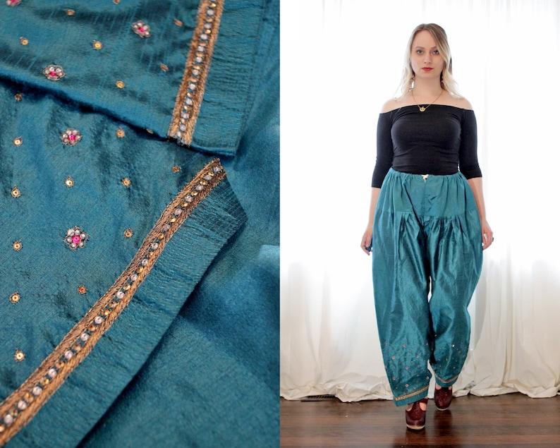 intage Indian teal peacock blue silky bohemian hippie salwar Churidaar pants