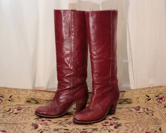 in heel high knee tall Vintage made USA high Frye boots cognac 7 leather riding AIww0q87W
