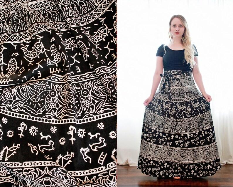 2abf7c2c850e04 Vintage Indian block printed print black white ethnic bohemian | Etsy
