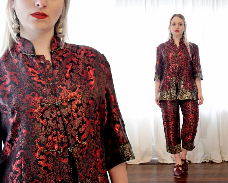 Vintage Chinese pajama suit set jacket trouser pant dragon  4c4a8f7b6