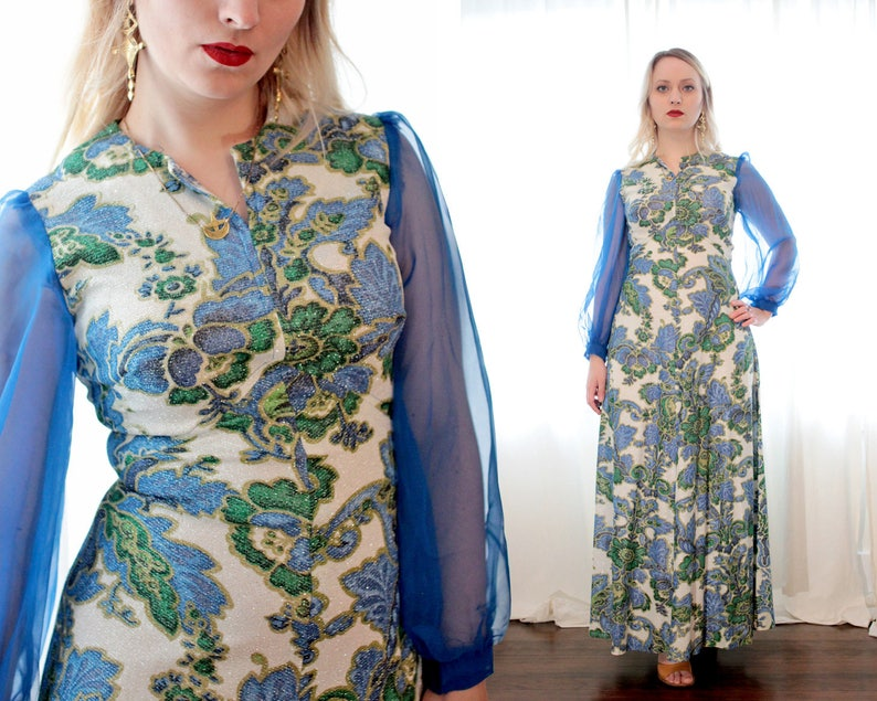 98122434912c Vintage 1960s blue long sheer sleeve sparkly paisley floral | Etsy