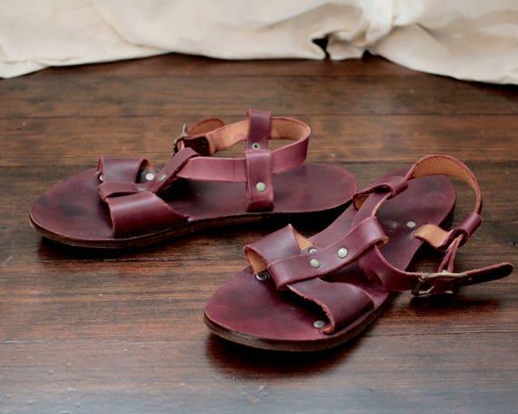 BoHo cuir gladiateur Sandales ethnique Vintage en ballerines acajou style wBqaq6t8x