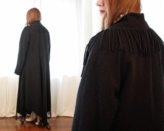 Vintage Italian black Cashmere wool blend  blanke… - image 4