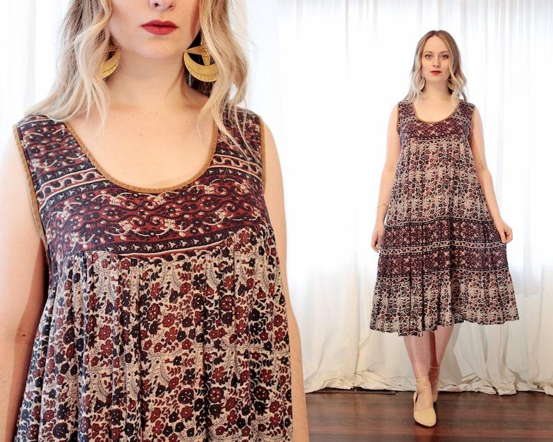 3f0de1719fe Vintage Indian cotton gauze sleeveless shift dress block print