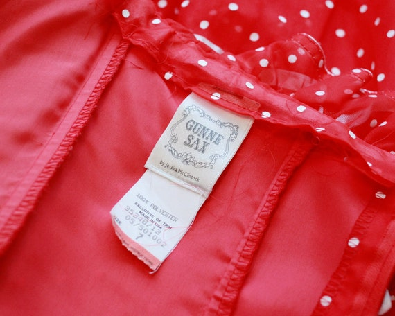 Rare vintage Gunne Sax Red white polkadot polka d… - image 2