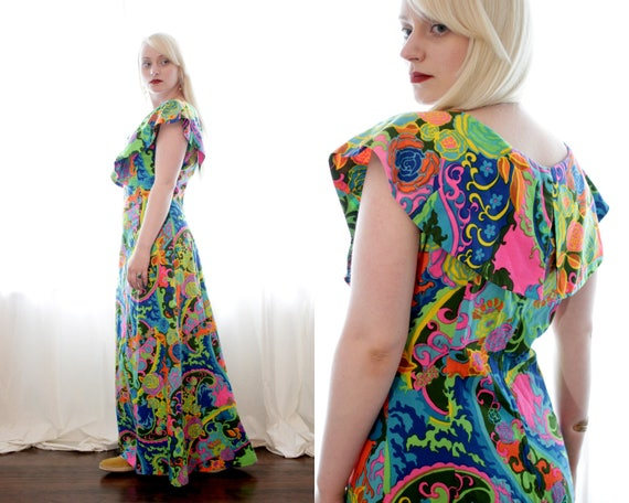 Vintage 1960s vibrant psychedelic Paisley and ros… - image 3