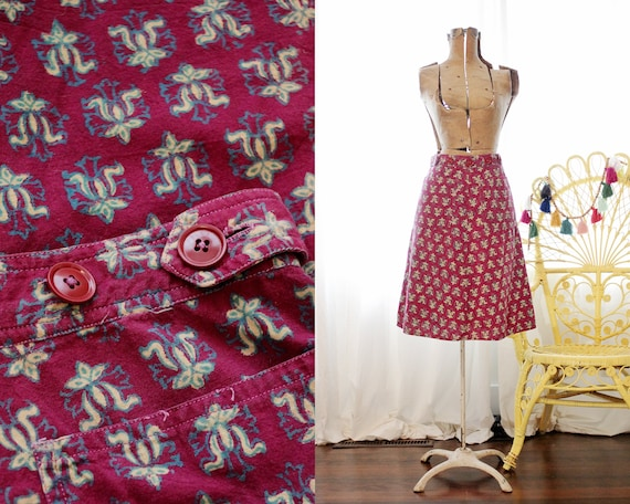 Vintage Indian block printed cotton maroon red but