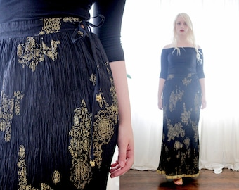 Vintage Indian crushed crinkle cotton slim fit maxi skirt metallic gold block print ethnic BoHo Gothic made in india