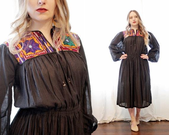 Vintage Deadstock Indian cotton gauze black embroi