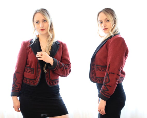 folk ethnic embroidered red style deep jacket Guatemalan Vintage cropped black and bohemian wool coat w7xvqY