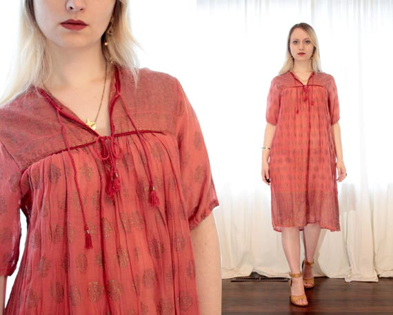 Vintage Indian cotton gauze dress coral pink red m